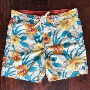 Caribbean Joe Hawaiian Floral Swim Shorts Trunks